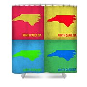 North Carolina Pop Art Map 1 Shower Curtain by Naxart Studio