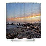 North Point Sunset Shower Curtain by CJ Schmit