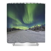 Northern Lights Dancing Over The James Shower Curtain by Lucas Payne