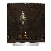 Notre Dame Golden Dome Snow Shower Curtain by John Stephens