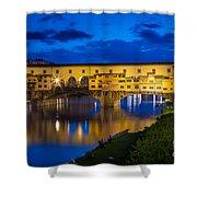 Notte A Ponte Vecchio Shower Curtain by Inge Johnsson