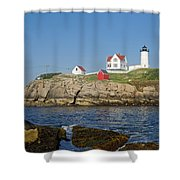 Nubble In The Day 16x20 Shower Curtain by Geoffrey Bolte