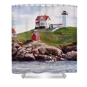 Nubble Lighthouse in Pastel Shower Curtain by Jack Skinner