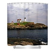 NUBLE LIGHTHOUSE Shower Curtain by Skip Willits