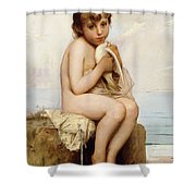 Nude Child With Dove Shower Curtain by Leon Bazile Perrault