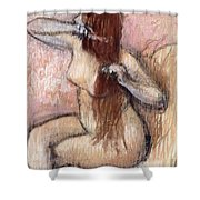 Nude Seated Woman Arranging Her Hair Femme Nu Assise Se Coiffant Shower Curtain by Edgar Degas