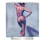Nude Woman In Finger Strokes Shower Curtain by Shelley Irish