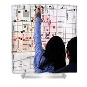 Nuit Blanche Map Shower Curtain by Valentino Visentini