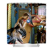 NYC - Horsing around in Bryant Park Shower Curtain by Richard Reeve