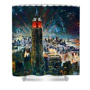 Nyc In Fourth Of July Independence Day Shower Curtain by Ylli Haruni