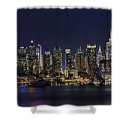Nyc Skyline Full Moon Panorama Shower Curtain by Susan Candelario