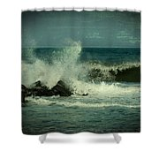 Ocean Impact - Jersey Shore Shower Curtain by Angie Tirado