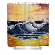 Ocean Sunset Shower Curtain by C Steele