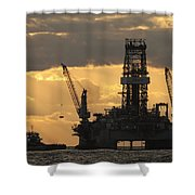 offshore rig at dawn Shower Curtain by Bradford Martin