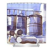 Oil Depot In April Shower Curtain by Kip DeVore