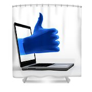 Okay Gesture Blue Hand From Screen Shower Curtain by Michal Bednarek