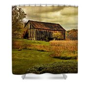 Old Barn In October Shower Curtain by Lois Bryan