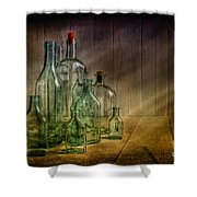 Old Bottles Shower Curtain by Veikko Suikkanen