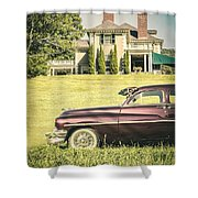 1951 Mercury Sedan In Front Of Large Mansion Shower Curtain by Edward Fielding