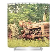 Old Farmall Tractor At Sunrise Shower Curtain by Edward Fielding