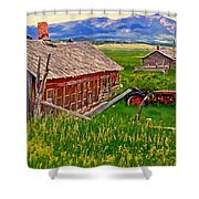 Old Homestead Near Townsend Montana Shower Curtain by Michael Pickett