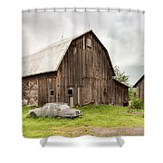 Old Jaguar Homestead - Vintage Americana Shower Curtain by Gary Heller