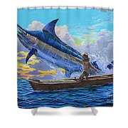 Old Man's Battle Off00133 Shower Curtain by Carey Chen
