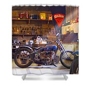 Old Motorcycle Shop 2 Shower Curtain by Mike McGlothlen