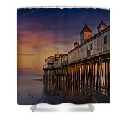 Old Orchard Beach Pier Sunset Shower Curtain by Susan Candelario