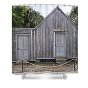 Old Post Office In Melbourne Beach Shower Curtain by Allan  Hughes