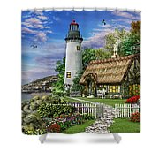 Old Sea Cottage Shower Curtain by Dominic Davison