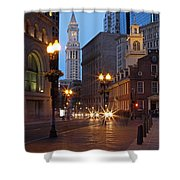 Old State House And Custom House In Boston Shower Curtain by Juergen Roth