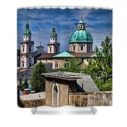 Old Town Salzburg Austria In Hdr Shower Curtain by Sabine Jacobs