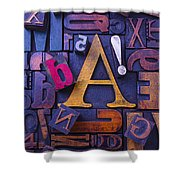 Old Typesetting Fonts Shower Curtain by Garry Gay