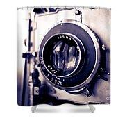 Old Vintage Press Camera  Shower Curtain by Edward Fielding