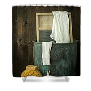 Old Washboard Laundry Days Shower Curtain by Edward Fielding
