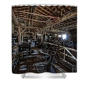 OLD WEST WAGON STORAGE and SHOP Shower Curtain by Daniel Hagerman