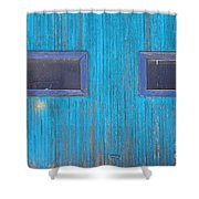 Old Wood Blue Garage Door Shower Curtain by James BO  Insogna