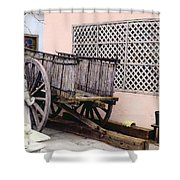 Old Wooden Wagon Shower Curtain by Marilyn Hunt