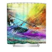 Olympics Canoe Slalom 03 Shower Curtain by Miki De Goodaboom