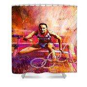 Olympics Heptathlon Hurdles 02 Shower Curtain by Miki De Goodaboom