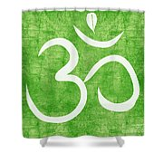 Om Green Shower Curtain by Linda Woods