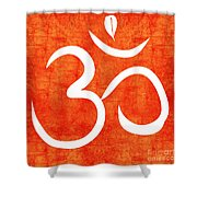 Om Spice Shower Curtain by Linda Woods