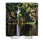 On Golden Canal Shower Curtain by Lana Trussell