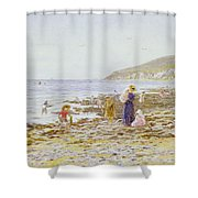 On The Beach Shower Curtain by Helen Allingham