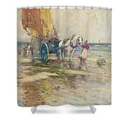 On the Beach  Shower Curtain by Oswald Garside