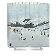 On The Slopes Shower Curtain by Judy Joel