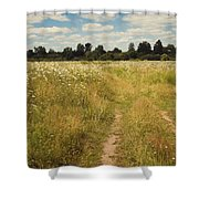 On The Summer Meadow. Russia Shower Curtain by Jenny Rainbow