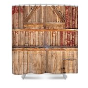 Once Red Doors Shower Curtain by Margie Hurwich
