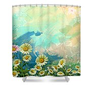 One Pink Daisy Shower Curtain by Bedros Awak